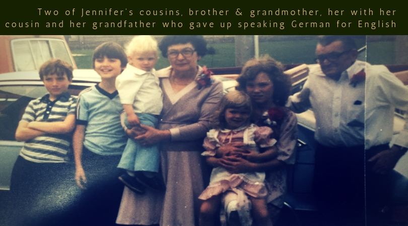 Two of Jennifer's cousins, brother & grandmother, her with her cousin and her grandfather who learned English as a child.jpg