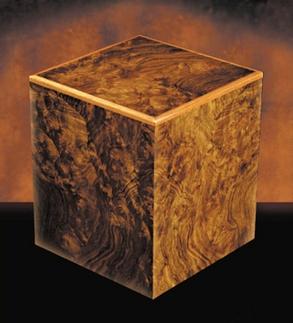 Manning Walnut Burl cube urn