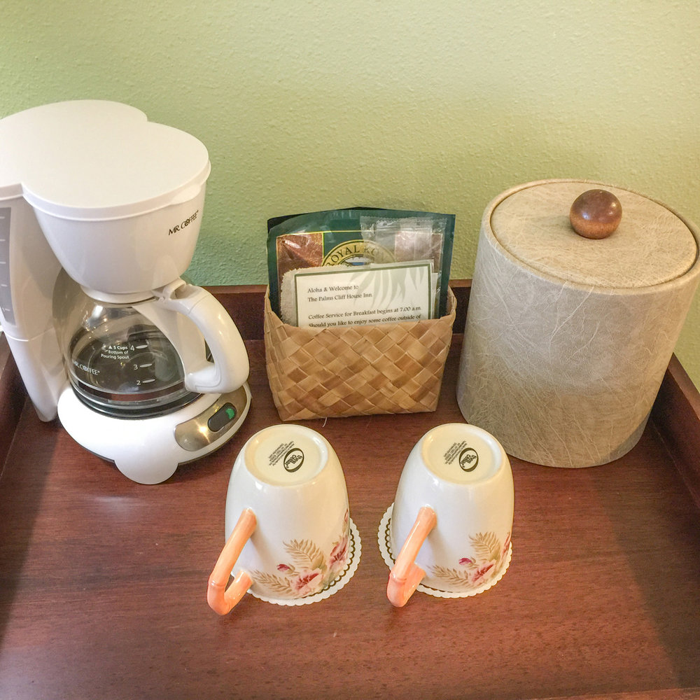 Enjoy 100% Kona Coffee in your room at your convenience.