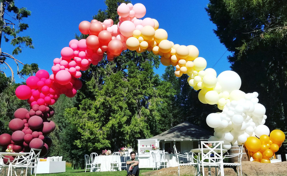 Meadowood Organic Garland Helium Arch Ombre - Napa Valley - Zim Balloons.jpg