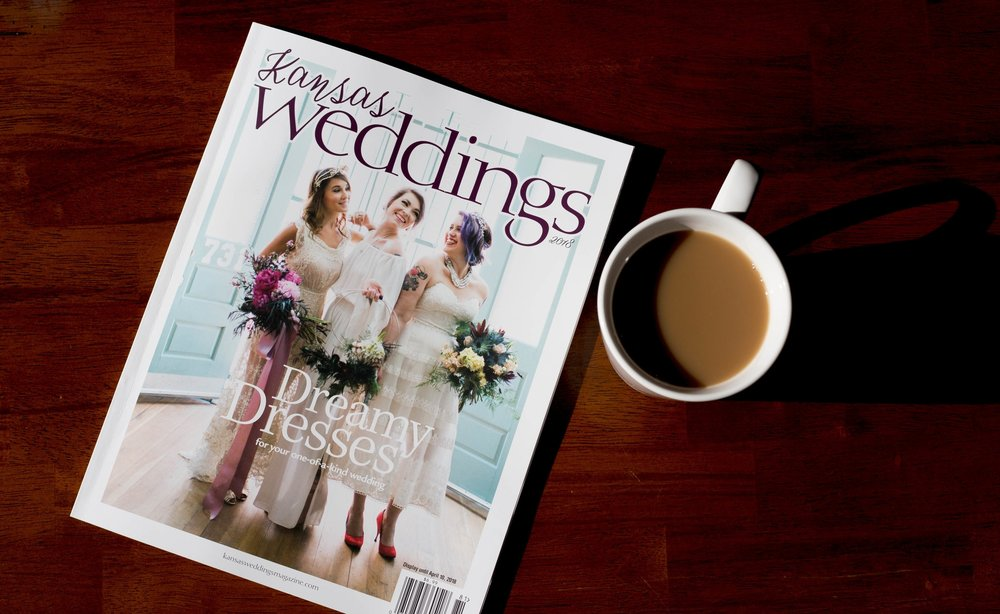 Writing, Photography & Modeling - Kansas Magazine is published annually, through Kansas' predominant Sunflower Publishing. As a contributor for several of their regional and state-wide magazines, being chosen as a contributor for this year's KWM was the cherry on top of a wonderful year. In the 2018 issue, you'll find two feature stories I've written, the wedding registry where two weddings I've photographed are featured, and a piece on bridal dresses I modeled for.