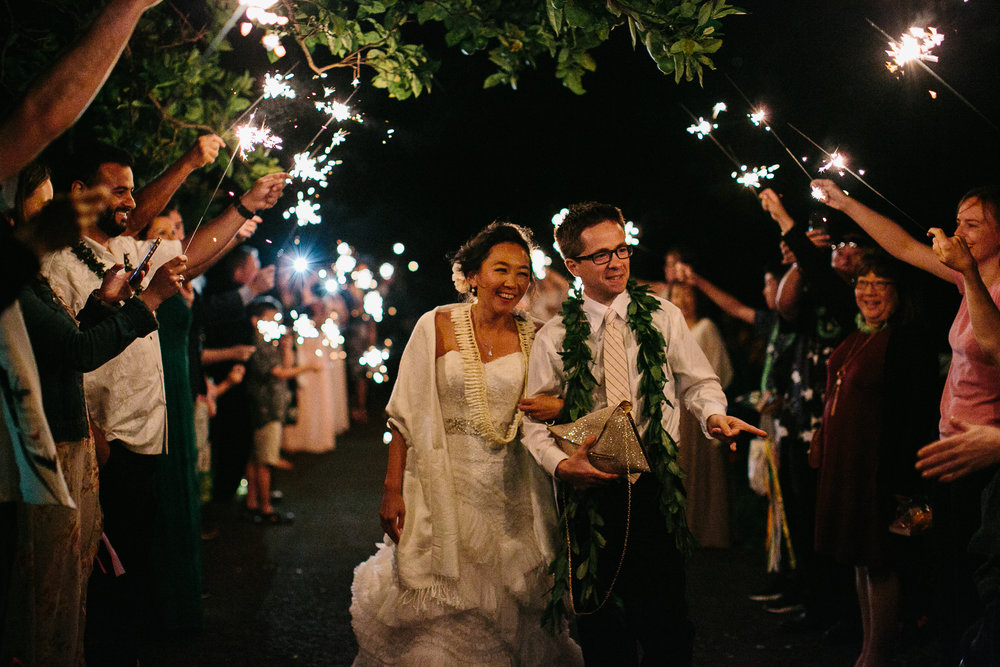 Big Island Wedding Sparkler Exit