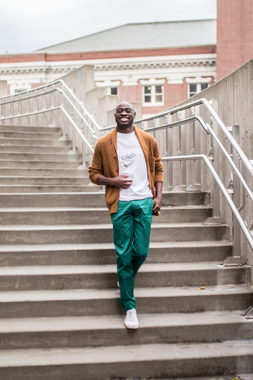 Shop the look: Pants by   inodchino , Shoes; Creative reaction, Cardigan: J. Crew, T-shirt:  Le Foodie