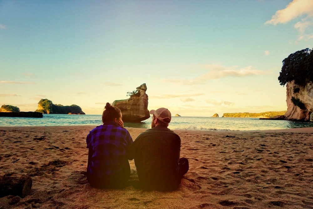 cathedral cove couple_the mini retirement.JPG