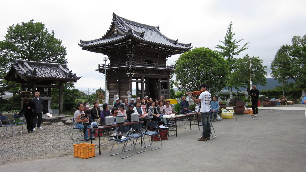 An impromptu performance in front of Dougen'in Temple, Ishinomaki, Japan
