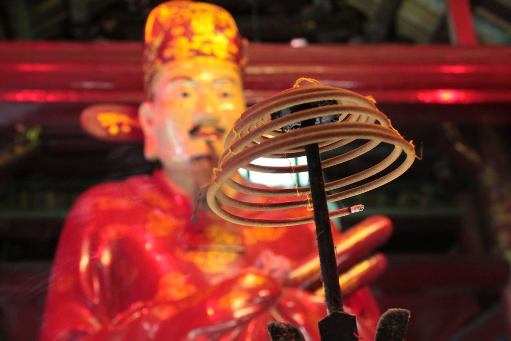 Incense burns at the Temple of Literature, or Văn Miếu, a Confucious center of learning that dates to the year 1070.