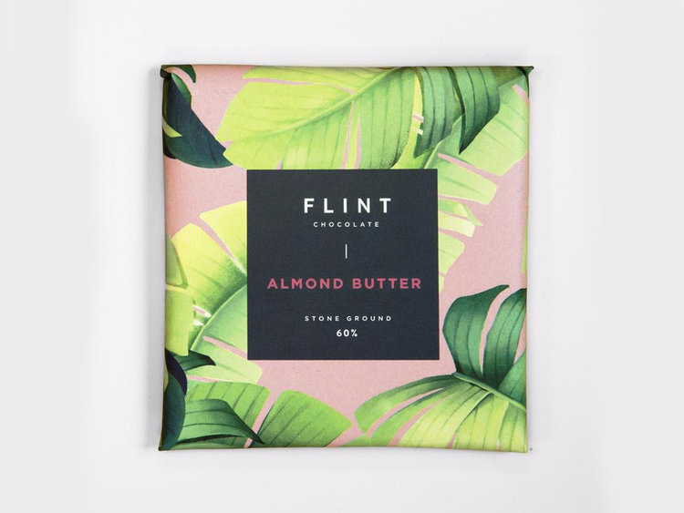 Flint Chocolate  Small batch chocolate made in New Zealand. Organic, ethically traded, and minimally processed. Your box will contain either 'almond butter' or 'coconut' flavours.