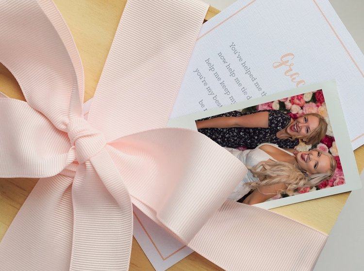 Personalised card and Polaroid photo   Make it personal by uploading an image of you and your bestie. If your box is for a bridesmaid, write a sweet message to go in a bridesmaid-themed card.