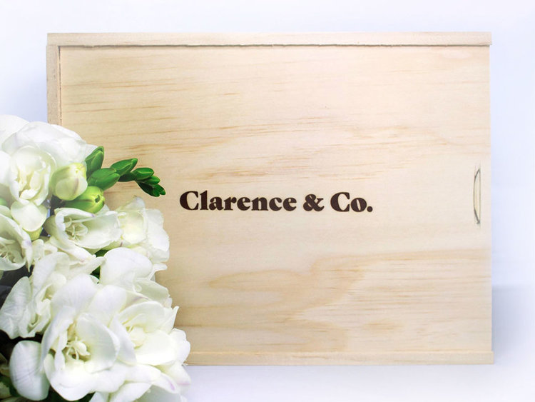 Clarence and Co. Box  The Clarence and Co. Bridesmaid Collections are beautifully packaged in our New Zealand-made pine plywood gift boxes and wrapped with a ribbon. We love that these boxes can be reused for a lifetime.
