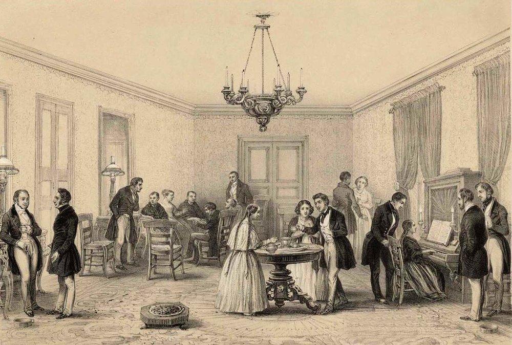 image:  Una tertulia en Santiago 1840-Atlas de la historia física y política de Chile-1854  –Claudio Gay