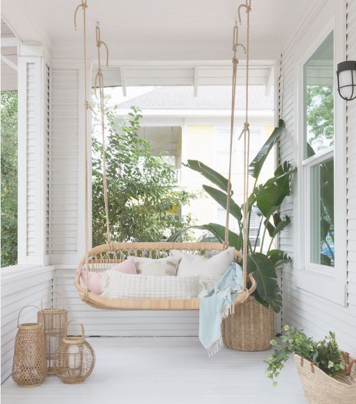 photo by Molly Culver for Camilla Styles                                Rattan never looked better! I love the swing, I can see                                                        sitting here at the end of the day sipping Rose