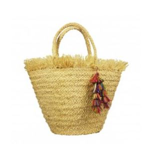 Hat Attack/     Frayed Top Tote - $106        We love the multi colored tassels and is the         perfect size for all your beach necessities
