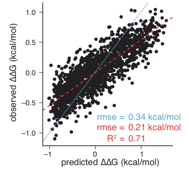 RNAMake-ΔΔG accounts for changes in tertiary RNA assembly affinity in a blind prediction challenge. - Scatterplot compares the dependence of the observed changes in ΔΔG (compared to the median) on the RNAMake-ΔΔG model for 1536 chip piece variants (R = 0.84). Red dashed line indicates the best-fit line (slope = 0.54); cyan dotted line indicates the line of slope 1.