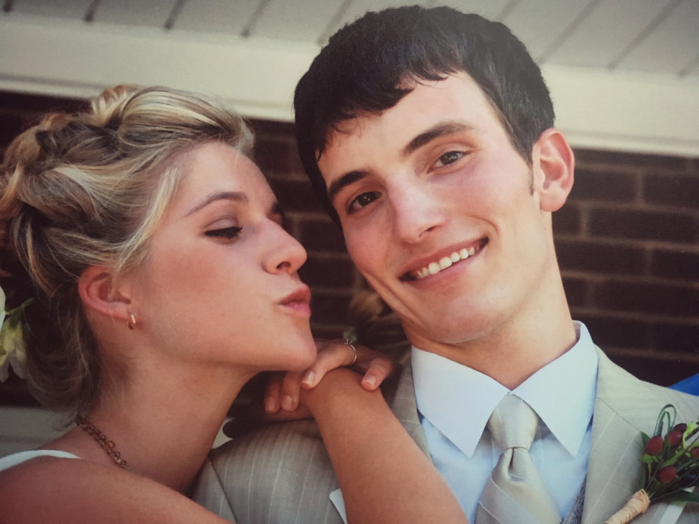 Our wedding day, August 10, 2007. Real feel of 110 degrees that day, so the sweat struggle was real.