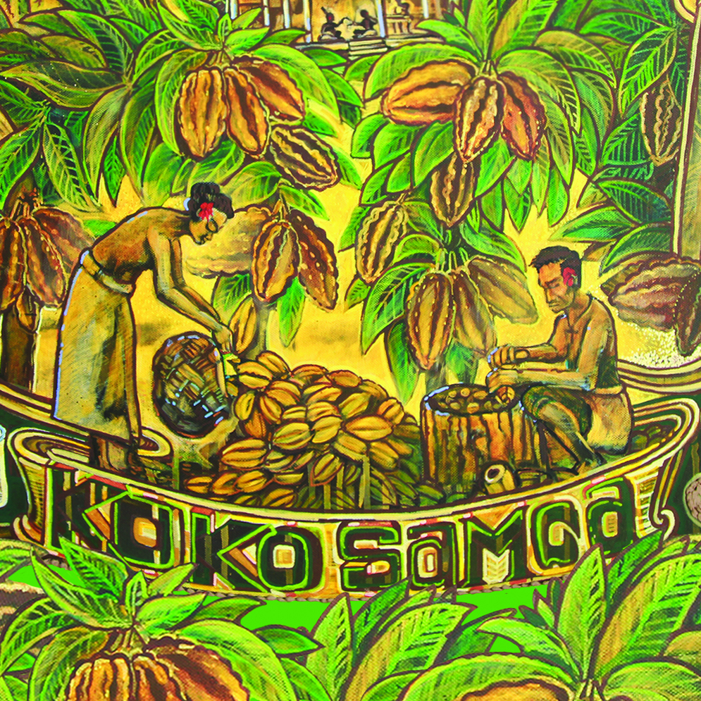 Michel Tuffery - This is the only piece in our collection which wasn't commissioned. To many, Michel needs no introduction as an established New Zealand/Samoan artist. We are honoured to have this original painting hanging in our factory, depicting the preparation of the traditional cocoa drink Koko Samoa. The brown pigment in this painting was even derived from real cocoa.