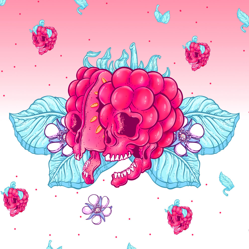 Jordan Debney - Much like some of our flavours, we want our artwork to be explosive, bright and intense. Jordan brought the Raspberry Milk Chocolate Bar to life with the tasty use of his famous screaming skull.