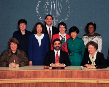 Sherry Harris (back, right) with the 1995 Seattle City Council