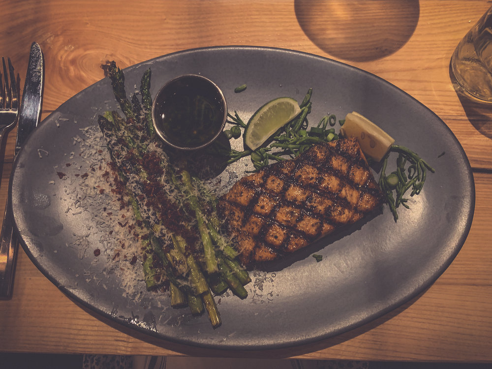 Grilled salmon catch of the day with asparagus- Matt's Stock Island