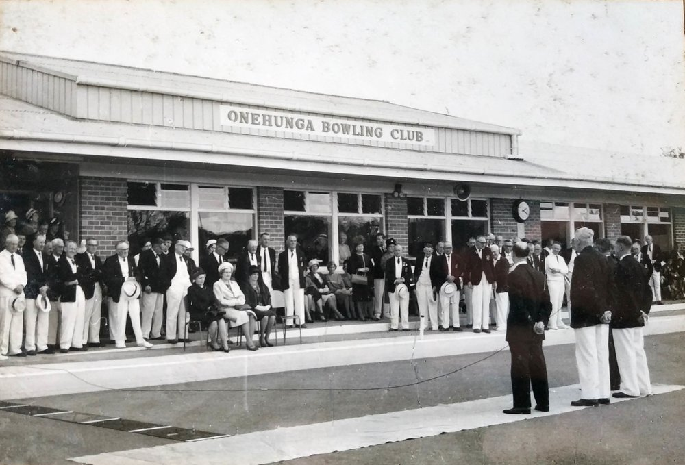 Speeches at the official opening day of the Onehunga Bowling Association. Photo credit: T.H. Ashe, Onehunga, NZ. Silver Gelatin Print. 1964.