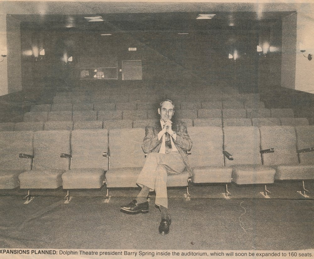 Dolphin Theatre president Barry Spring, inside the auditorium which was soon be expanded to 160 seats. Photo credit: Jocelyn McQuaid. 1992.