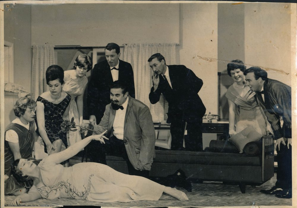 "Snapshot taken from the play ""Hay Fever"", shown at Dolphin Theatre. Photo credit: Jocelyn McQuaid. 1966."