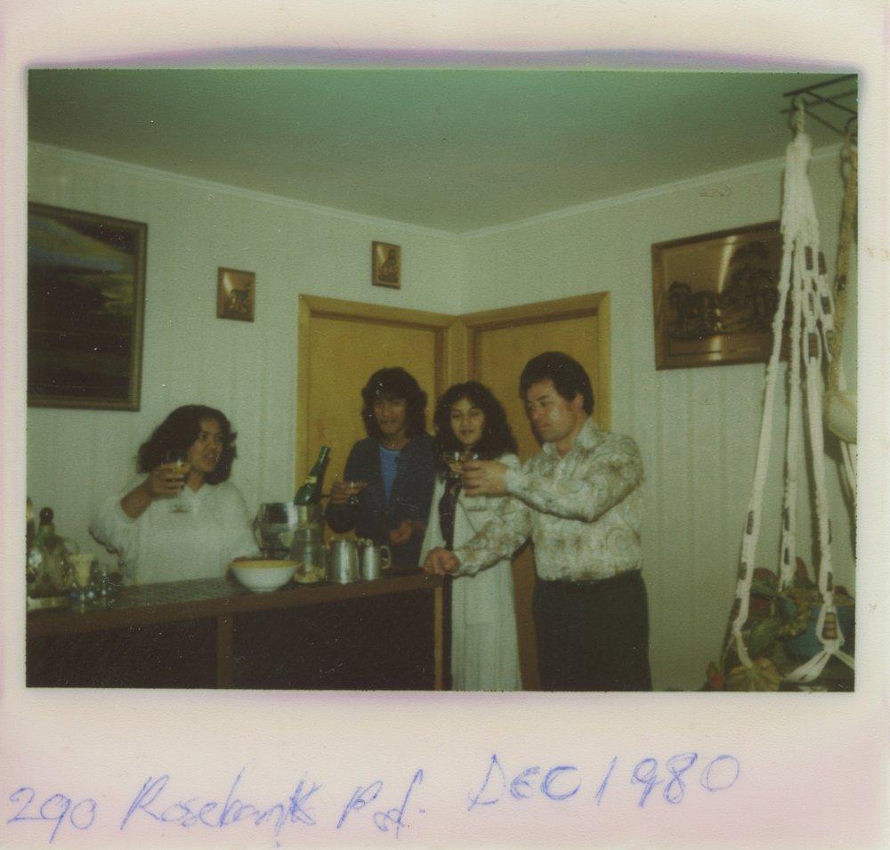 New Years Eve celebrations. L-R Kim Hawkins, Louis Hawkins, Susan Hawkins and Steve Hawkins. Photo credit: Susan Hawkins. 1980.