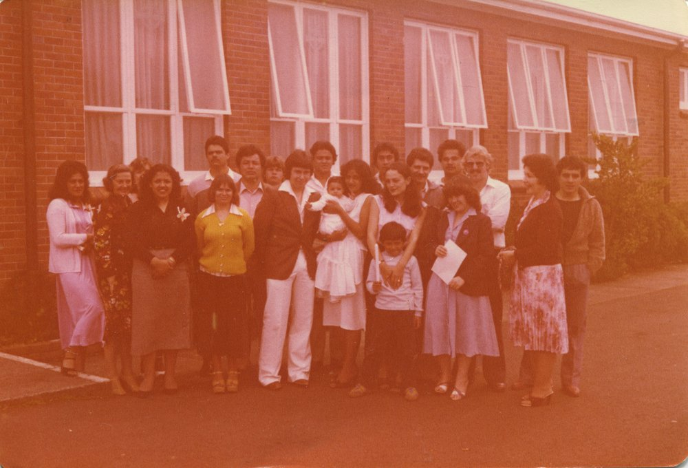 The Hawkins and Child's families, and friends, gather at the St Mary's Church for daughter Natalie's christening. Photo Credit: Susan Hawkins. 1980.