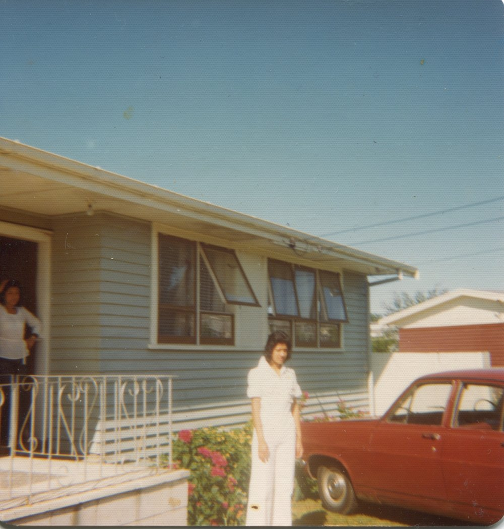 Susan Hawkins stands outside the family home, 290 Rosebank Road. Image credit: Susan Hawkins. 1976.