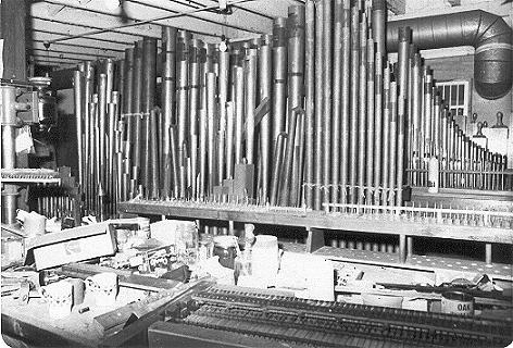 Under the Hollywood Theatre stage when the team were installing the Wurtlitzer Organ chambers. Image credit: James Duncan, Wurlitzer Organ Trust of Auckland. 1978.