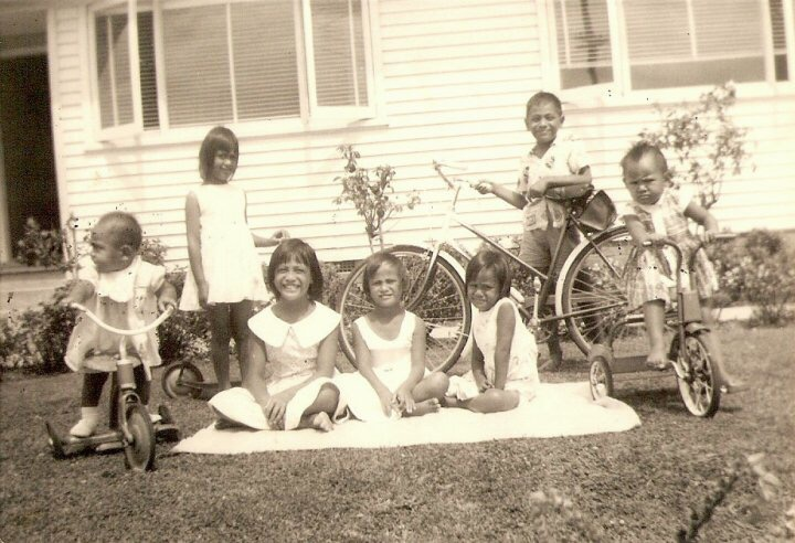 The Timo family at the Avondale Rd homestead. Image credit: Dayne Smith. 1960.
