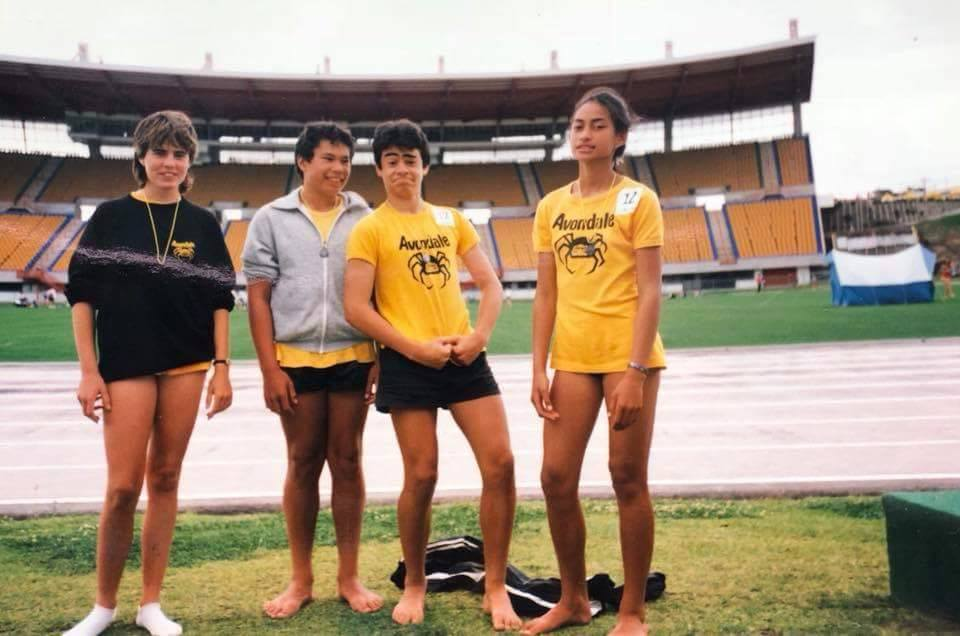 Avondale Athletics Club compete at Ericsson Stadium. L-R Ericsson Stadium, left to right -Helen Exler, Jon Read, Michael Henoa. Image credit: Kat Saifiti, current Avondale Athletics Club President. Circa 80s.