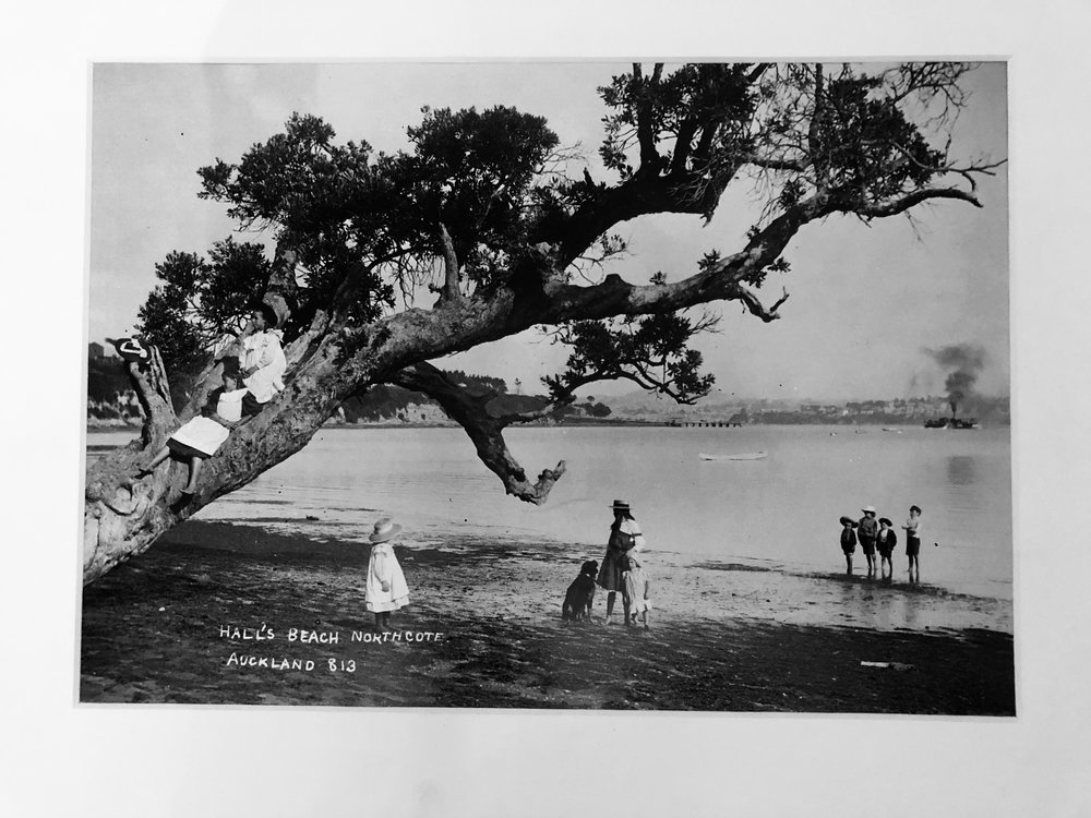 Children playing at Hall's Beach. Image credit: Lisa Evans. Early 1900s.