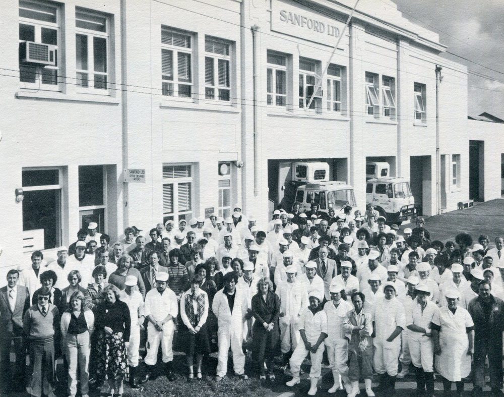 "Auckland Jellicoe Street staff in 1980. From ""The Story of Sandford LTD. by Paul Titchener"" 1981."