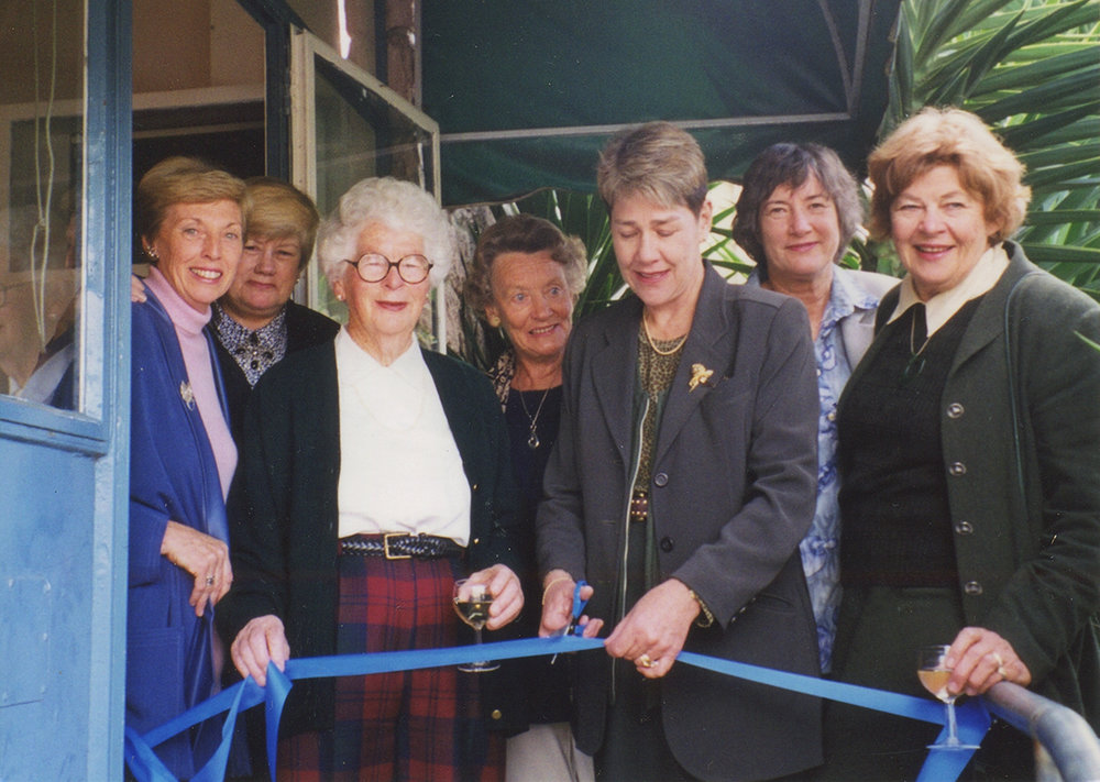 10th VIC anniversary. Left to right: Angela Antony, Jan O'Connor, Peggy Phillips, Phyllis Wilson, Wyn Hoadley, Raewyn Bredesen, Genevieve Becroft. Image credit: Angela Antony. 1999.