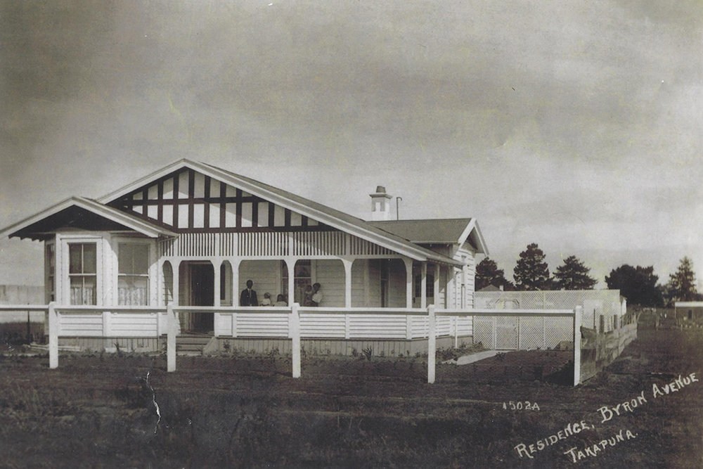 16 Byron Avenue. This house was sold around 1960 and spent its latter years divided into three flats. The house was removed from Byron Ave in 1995 and transported to Waipa, where it was renovated as a farmhouse. Image credit: Gavin Sheehan. 1959.