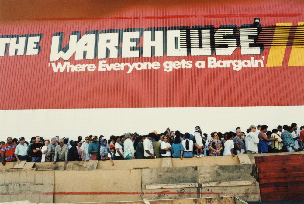 Bargain hunters' queue, Manukau City Centre, 1996. Creator: Unknown Date: 9 February 1996 Footprints 03652
