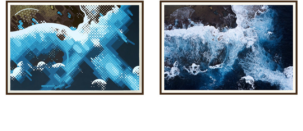 Left: 'West End' by Amok Island - acrylics on canvas 154cm x 104cm Right: 'West End' by Jarrad Seng - giclee photographic print on canvas 154cm x 104cm