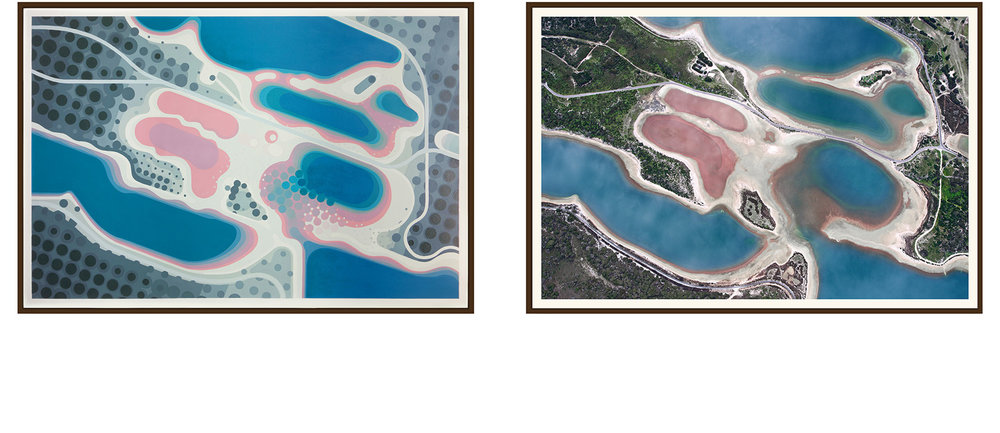 Left: 'Pearse Lakes' by Amok Island - acrylics on canvas 154cm x 104cm Right: 'Pearse Lakes' by Jarrad Seng - giclee photographic print on canvas 154cm x 104cm