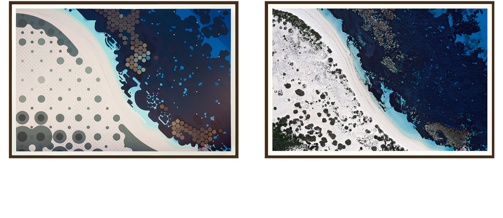 Left: 'Stark Bay' by Amok Island - acrylics on canvas 154cm x 104cm Right: 'Stark Bay' by Jarrad Seng - giclee photographic print on canvas 154cm x 104cm