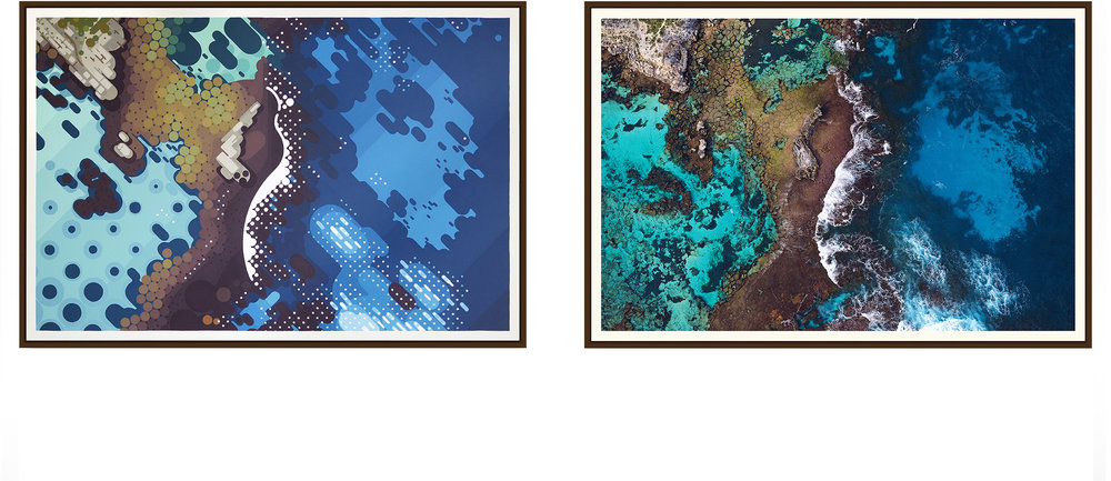 Left: 'Salmon Bay' by Amok Island - acrylics on canvas 154cm x 104cm Right: 'Salmon Bay' by Jarrad Seng - giclee photographic print on canvas 154cm x 104cm