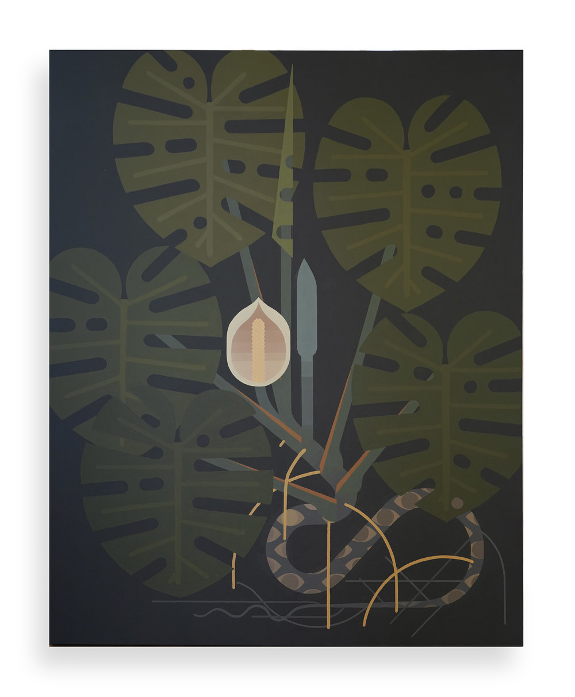 'Monstera deliciosa' 151cm x 121cm - acrylics on canvas 2019