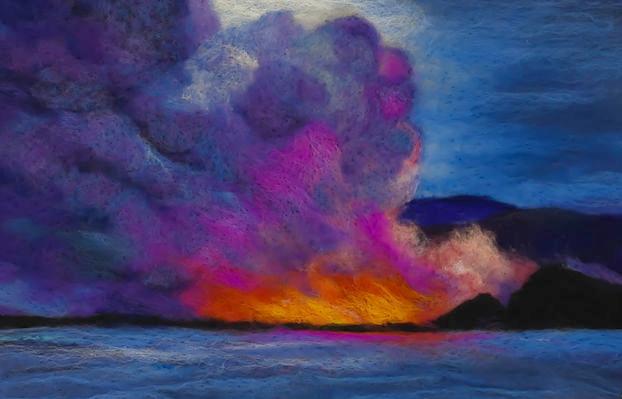 """'LAVA AT SEA"""" FIBER ART"""