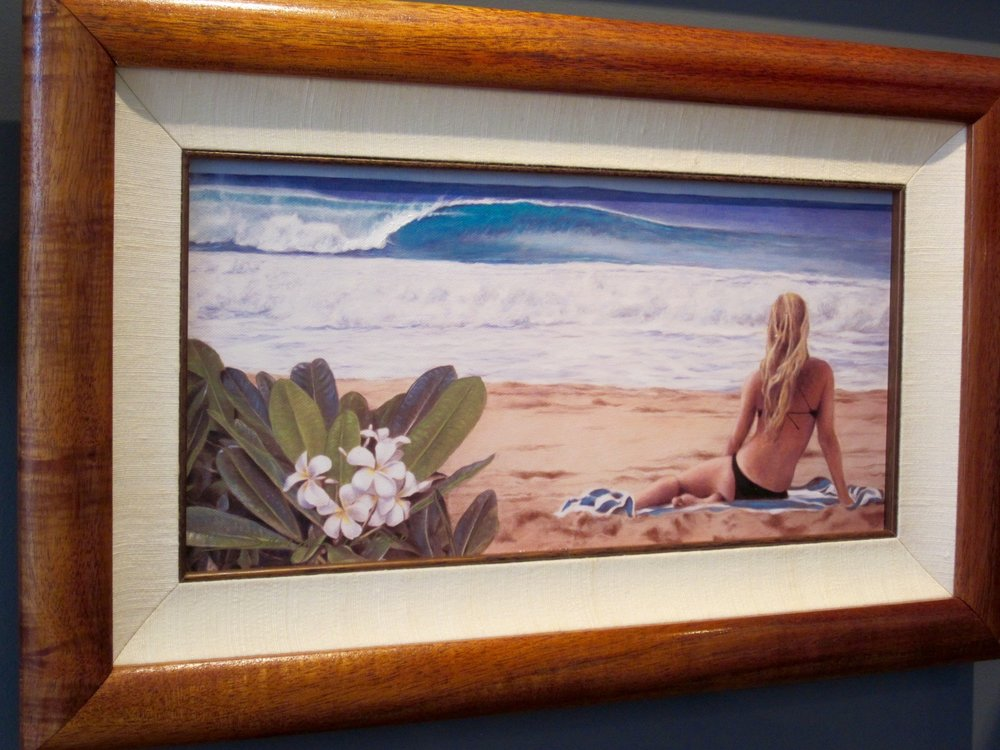 Lee Samson - A lifelong resident of Hawaii, Lee has worked in both Graphic Design and FIne Arts for over thirty years, specializing in graphics, computer artwork, industrial design and painting landscapes and portraits.An avid bodyboard enthusiast in the ocean, Lee's landscapes capture the beauty of Hawaii's tropical beaches and exotic flowers. His work achieves realism and depth using the same underpainting and layered glazing techniques employed by painting's Old Masters. Lee paints from his studio located deep in quiet Palolo Valley.
