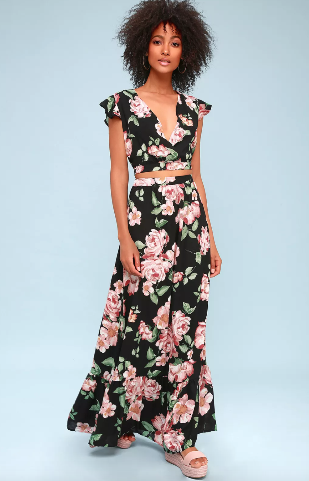 Black Floral Two piece dress