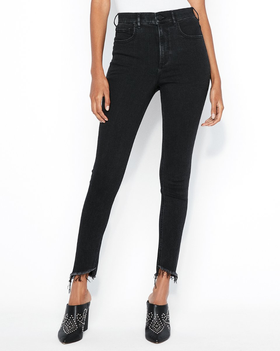 Express high waisted ankle fringe