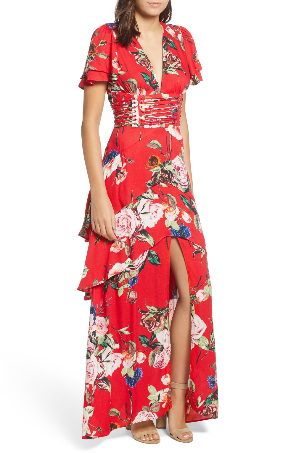 AFRM Tiered Floral Dress