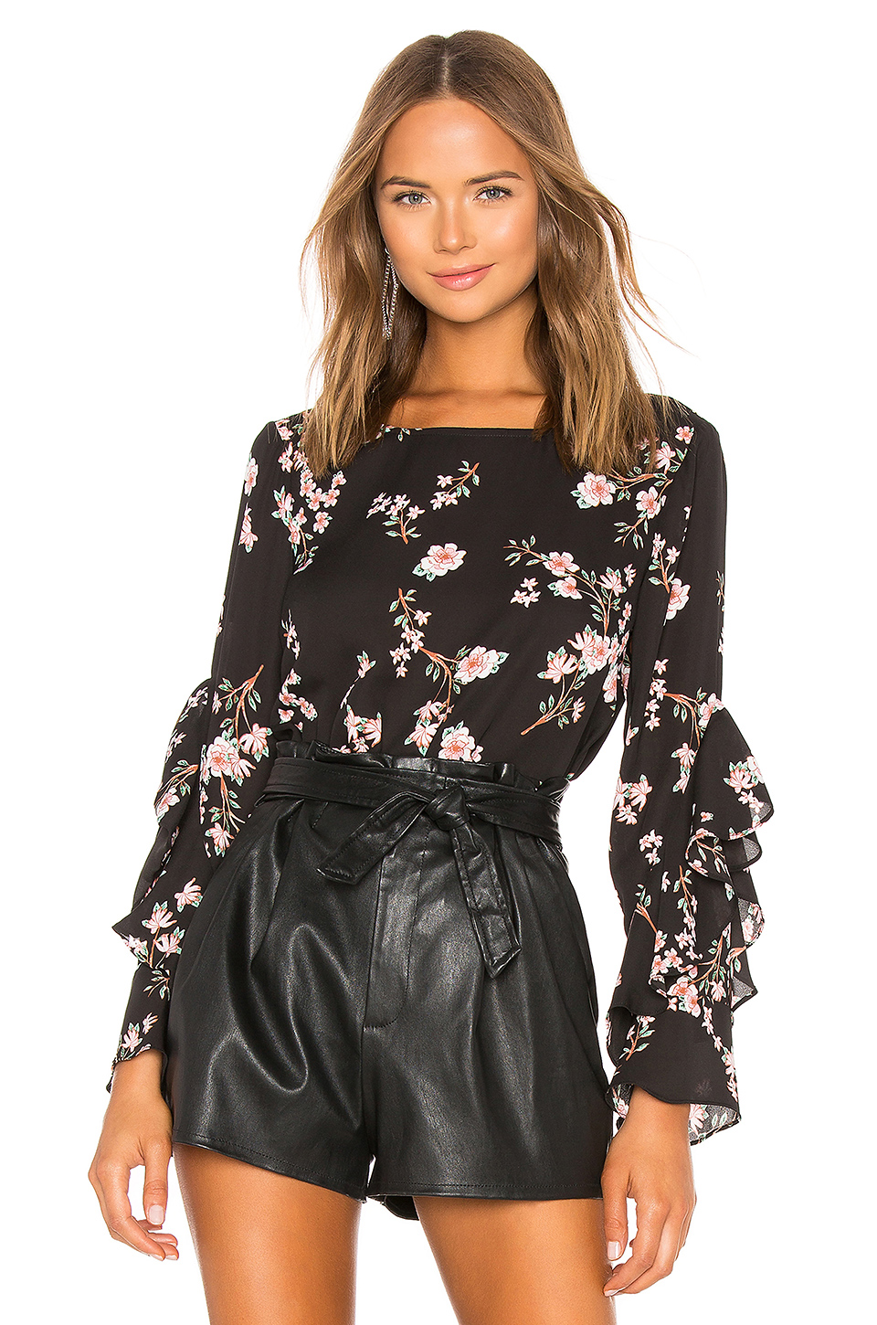 BB Dakota Floral Ruffle Sleeve Top