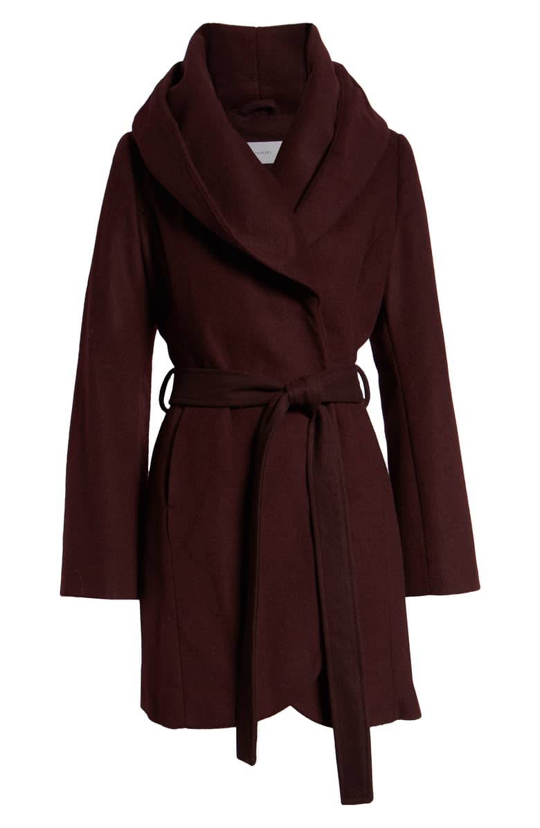 Tahari Wool Blend Wrap Coat