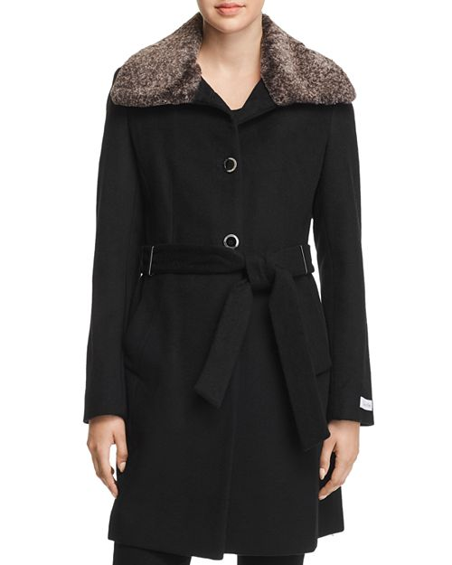 Calvin Klein Faux Wing Collar Coat