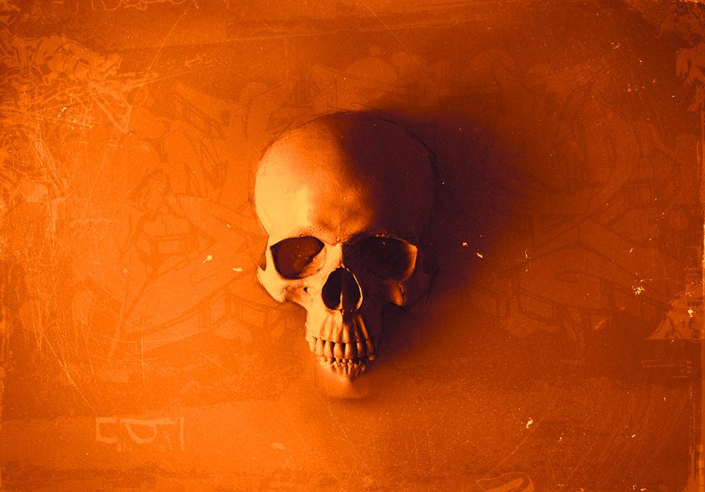 Death rising Orange with graffiti